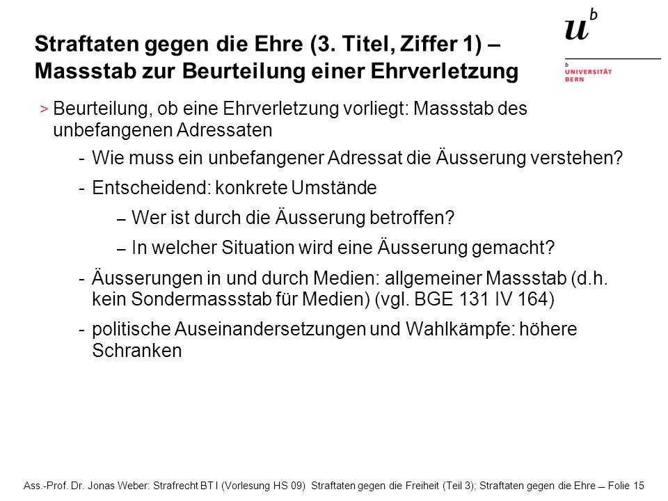 Ass.-Prof. Dr. Jonas Weber: Strafrecht BT I (Vorlesung HS 09) Straftaten gegen die Freiheit (Teil 3); Straftaten gegen die Ehre Folie 15 Straftaten ge