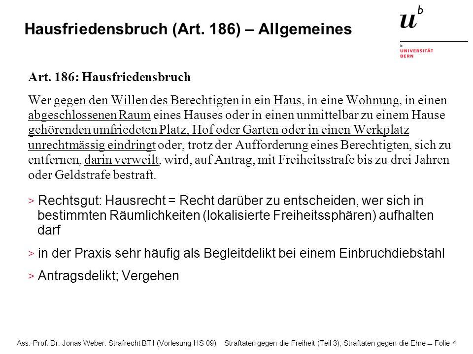 Ass.-Prof. Dr. Jonas Weber: Strafrecht BT I (Vorlesung HS 09) Straftaten gegen die Freiheit (Teil 3); Straftaten gegen die Ehre Folie 4 Hausfriedensbr