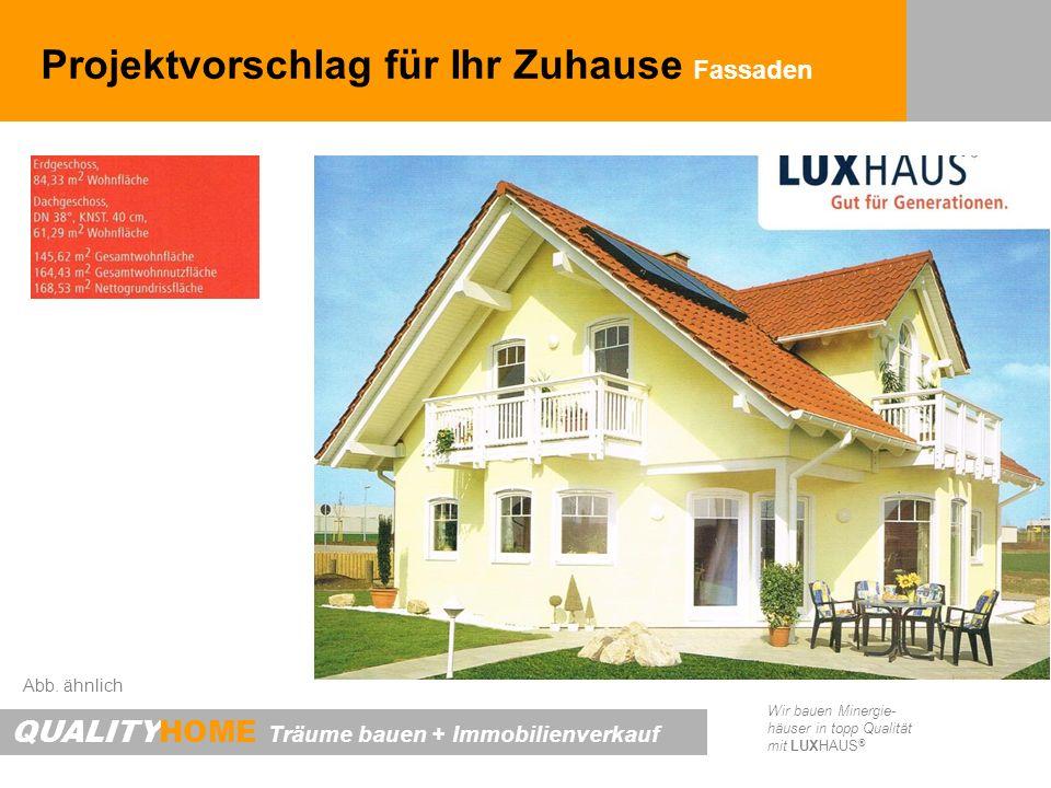 QUALITYHOME Träume bauen + Immobilienverkauf Wir bauen Minergie- häuser in topp Qualität mit LUXHAUS ® Projektvorschlag für Ihr Zuhause Fassaden Abb.