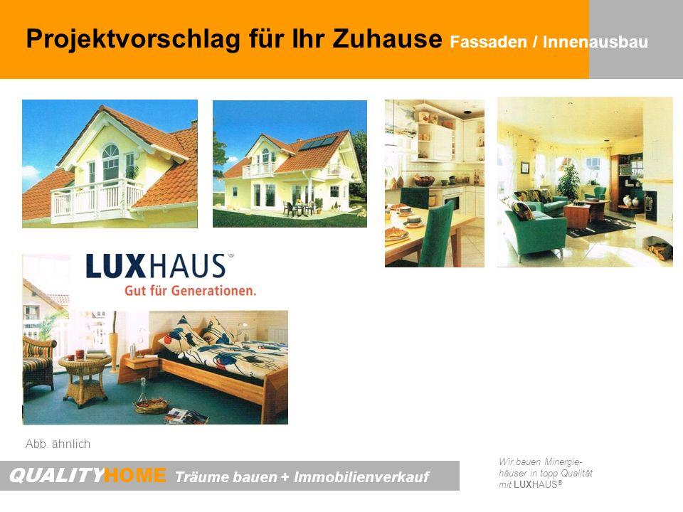 QUALITYHOME Träume bauen + Immobilienverkauf Wir bauen Minergie- häuser in topp Qualität mit LUXHAUS ® Projektvorschlag für Ihr Zuhause Fassaden / Innenausbau Abb.