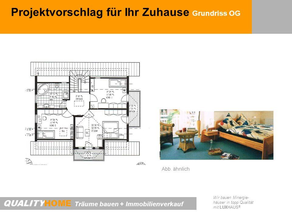 QUALITYHOME Träume bauen + Immobilienverkauf Wir bauen Minergie- häuser in topp Qualität mit LUXHAUS ® Projektvorschlag für Ihr Zuhause Grundriss OG A