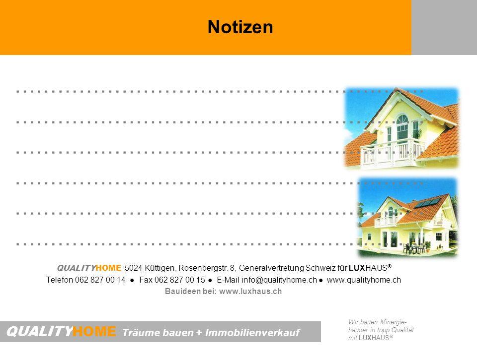 QUALITYHOME Träume bauen + Immobilienverkauf Wir bauen Minergie- häuser in topp Qualität mit LUXHAUS ® Notizen …………………………………………………. QUALITYHOME 5024 K