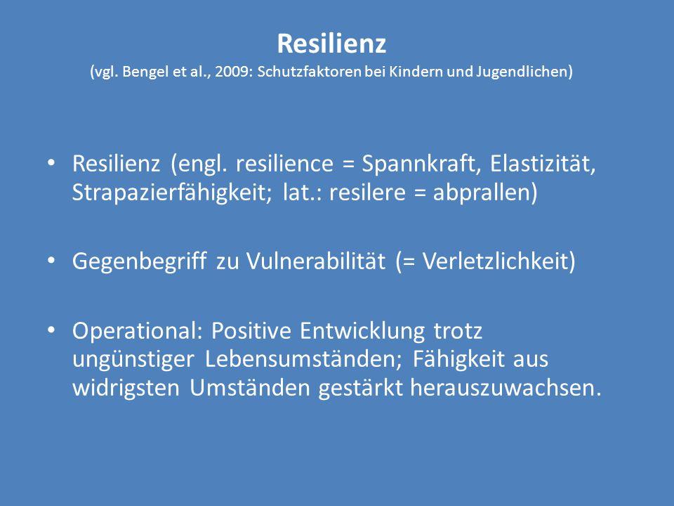 Resilienz (vgl. Bengel et al., 2009: Schutzfaktoren bei Kindern und Jugendlichen) Resilienz (engl. resilience = Spannkraft, Elastizität, Strapazierfäh