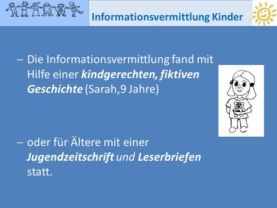 Informationsvermittlung Kinder Die Informationsvermittlung fand mit Hilfe einer kindgerechten, fiktiven Geschichte (Sarah,9 Jahre) oder für Ältere mit