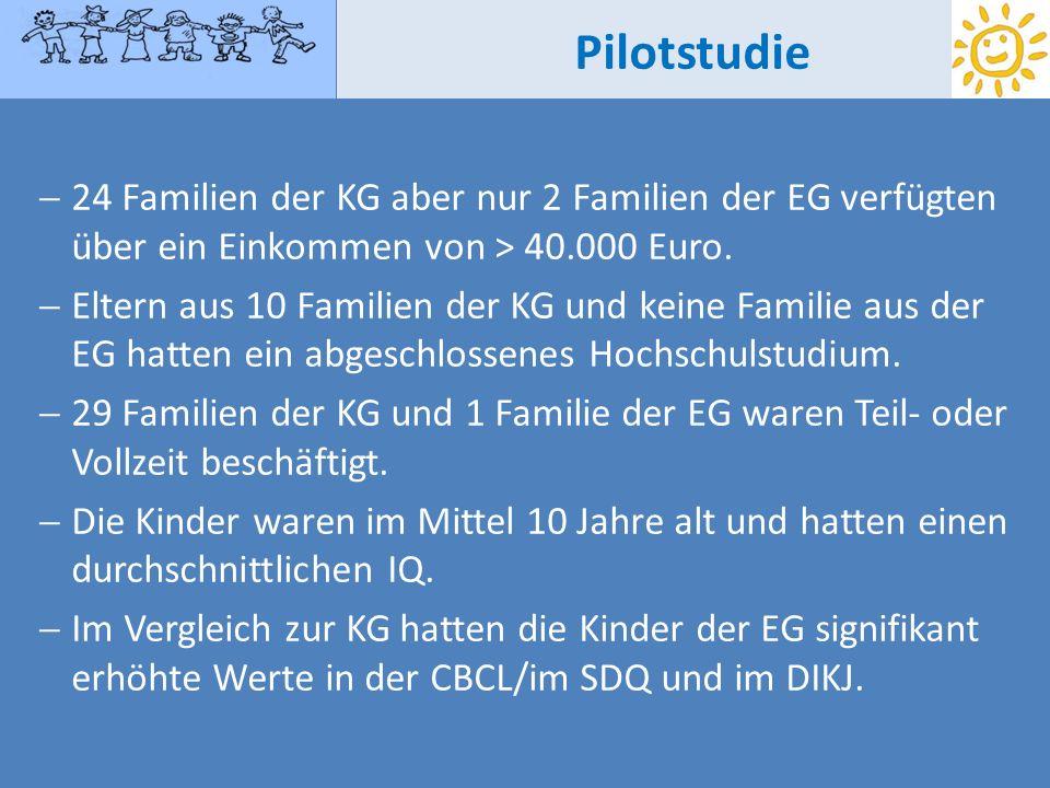 Pilotstudie 24 Familien der KG aber nur 2 Familien der EG verfügten über ein Einkommen von > 40.000 Euro. Eltern aus 10 Familien der KG und keine Fami