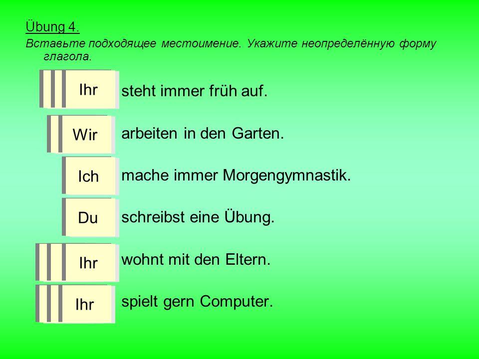 Übung 4.Вставьте подходящее местоимение. Укажите неопределённую форму глагола.