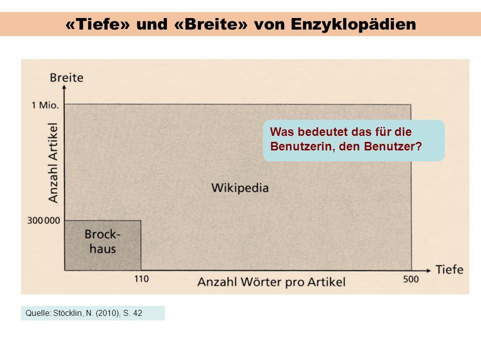 «Tiefe» und «Breite» von Enzyklopädien Quelle: Stöcklin, N. (2010), S. 42 Was bedeutet das für die Benutzerin, den Benutzer?