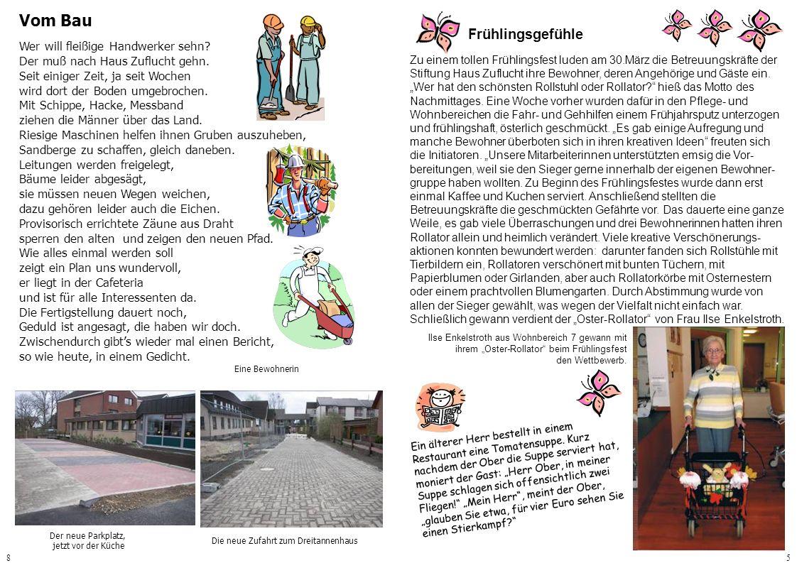 85 Frühlingsgefühle Zu einem tollen Frühlingsfest luden am 30.März die Betreuungskräfte der Stiftung Haus Zuflucht ihre Bewohner, deren Angehörige und