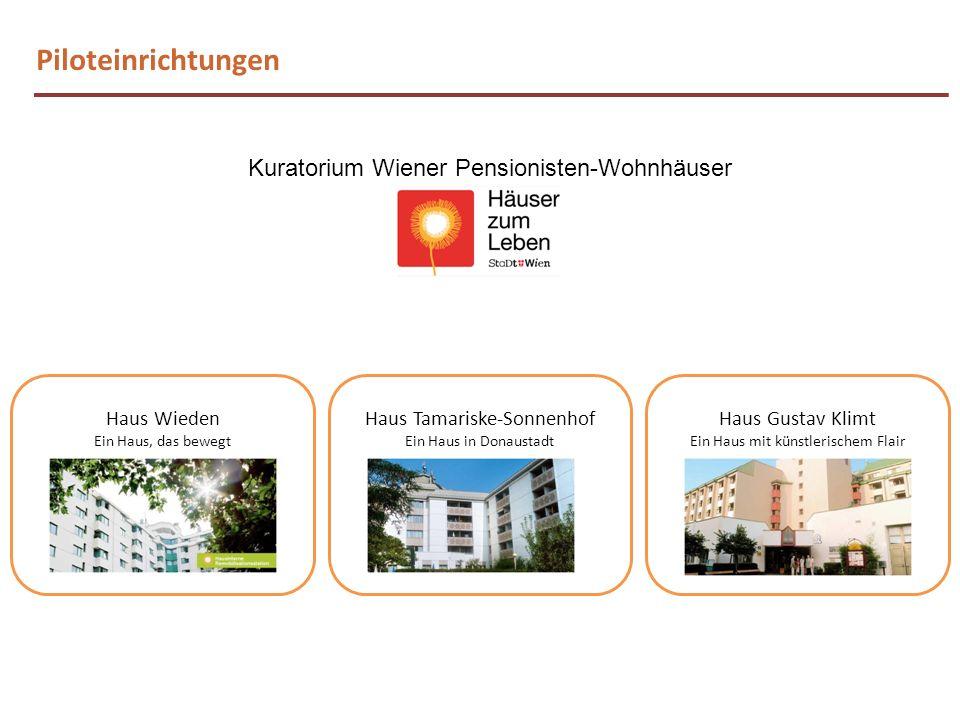 Piloteinrichtungen Kuratorium Wiener Pensionisten-Wohnhäuser Haus Tamariske-Sonnenhof Ein Haus in Donaustadt Haus Wieden Ein Haus, das bewegt Haus Gus