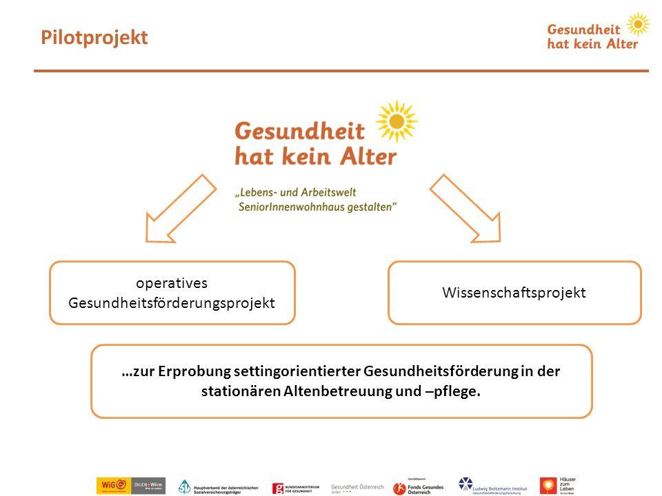 Pilotprojekt operatives Gesundheitsförderungsprojekt Wissenschaftsprojekt …zur Erprobung settingorientierter Gesundheitsförderung in der stationären A