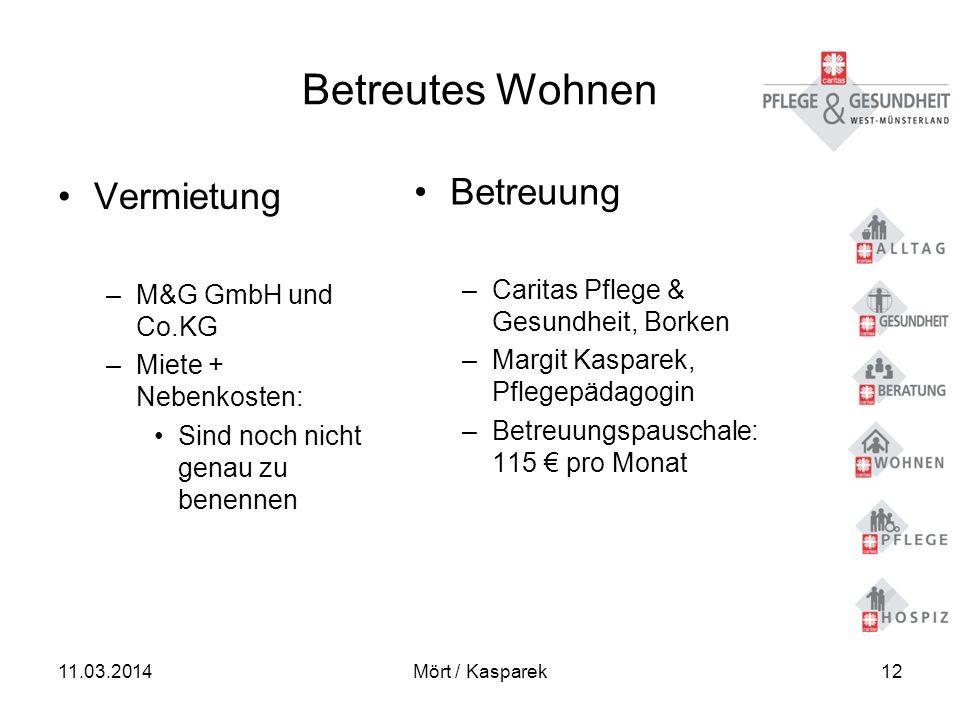 11.03.2014Mört / Kasparek12 Betreutes Wohnen Vermietung –M&G GmbH und Co.KG –Miete + Nebenkosten: Sind noch nicht genau zu benennen Betreuung –Caritas