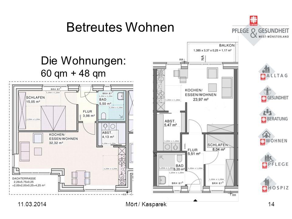 11.03.2014Mört / Kasparek14 Betreutes Wohnen Die Wohnungen: 60 qm + 48 qm