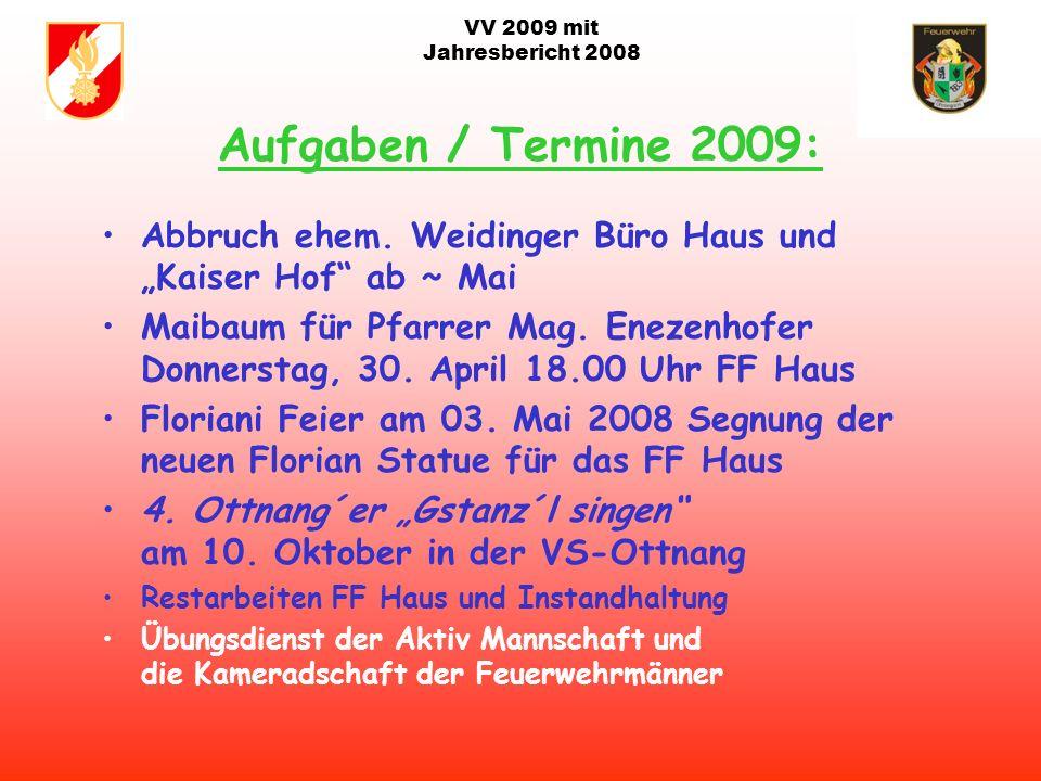VV 2009 mit Jahresbericht 2008 Agenda 2009: Adaptierung Löschwasserbehälter/Löschteich Arming; Teich der Fam. Großauer 2009 Holzham; bei Fam. König fü