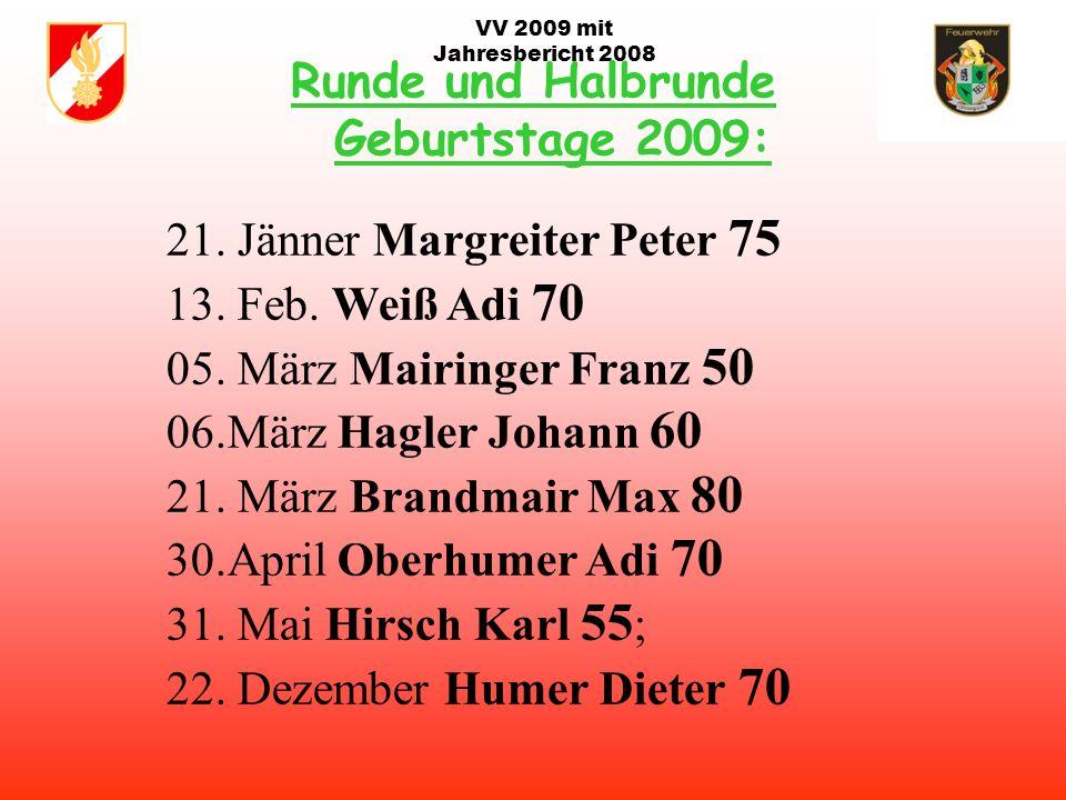 VV 2009 mit Jahresbericht 2008 Aufgaben / Termine 2009: Abbruch ehem. Weidinger Büro Haus und Kaiser Hof ab ~ Mai Maibaum für Pfarrer Mag. Enezenhofer