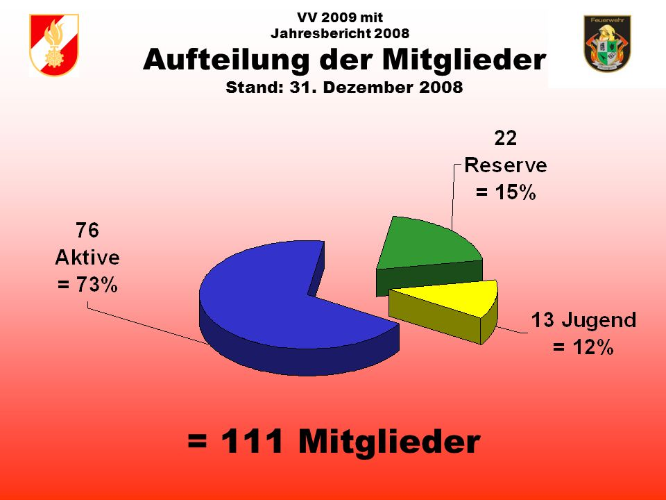 VV 2009 mit Jahresbericht 2008 Aufteilung der Mitglieder Stand: 31. Dezember 2008 = 111 Mitglieder
