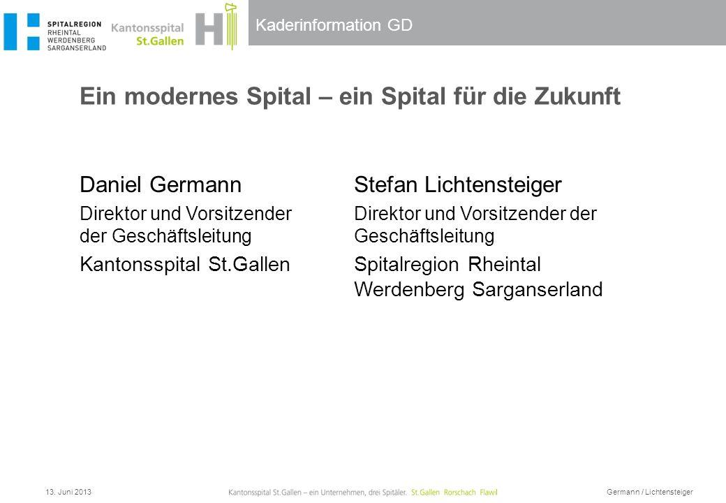 Kaderinformation GD Ein modernes Spital – ein Spital für die Zukunft 13. Juni 2013 Germann / Lichtensteiger Daniel Germann Direktor und Vorsitzender d