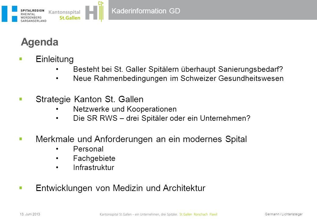 Kaderinformation GD Agenda 13. Juni 2013 Germann / Lichtensteiger Einleitung Besteht bei St. Galler Spitälern überhaupt Sanierungsbedarf? Neue Rahmenb