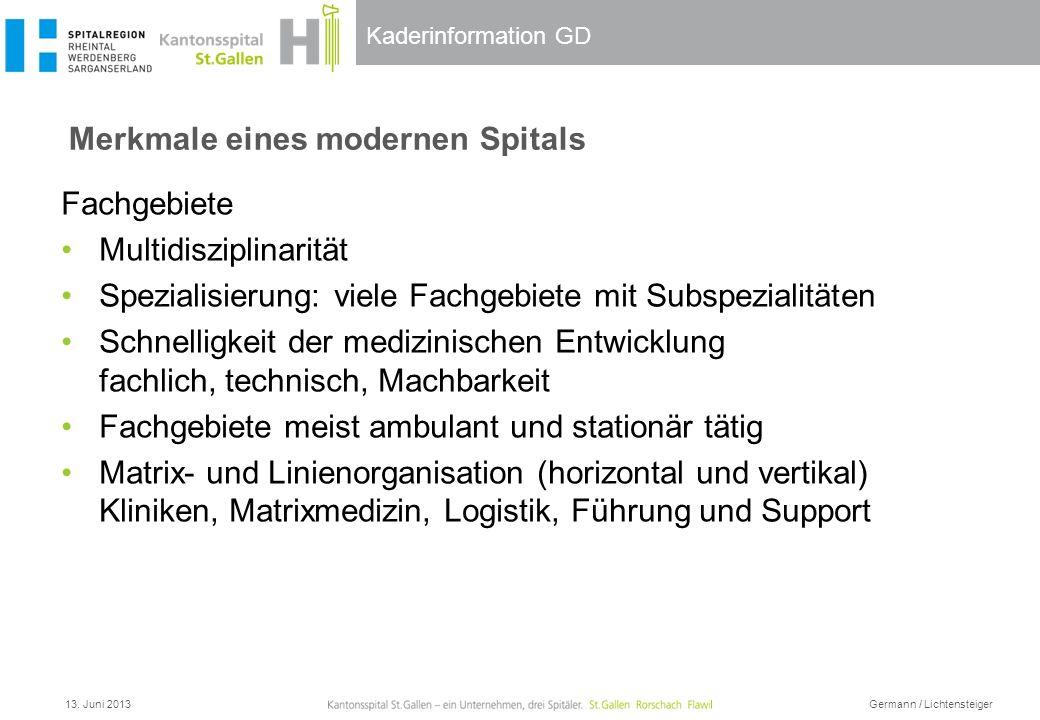 Kaderinformation GD Merkmale eines modernen Spitals 13. Juni 2013 Germann / Lichtensteiger Fachgebiete Multidisziplinarität Spezialisierung: viele Fac