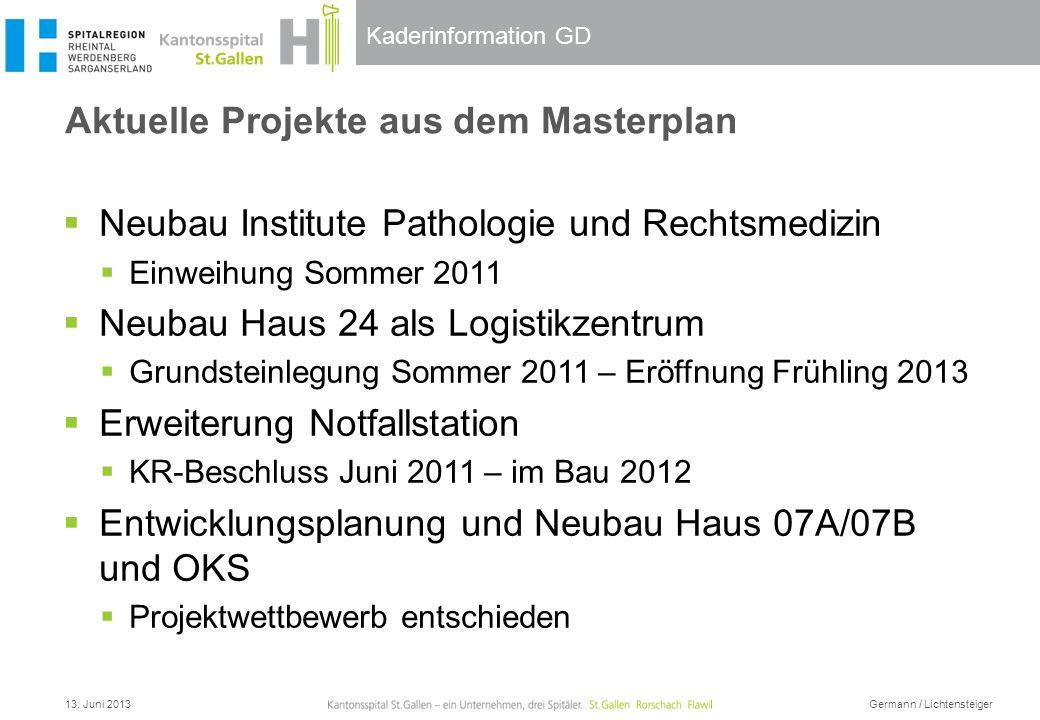 Kaderinformation GD Aktuelle Projekte aus dem Masterplan Neubau Institute Pathologie und Rechtsmedizin Einweihung Sommer 2011 Neubau Haus 24 als Logis