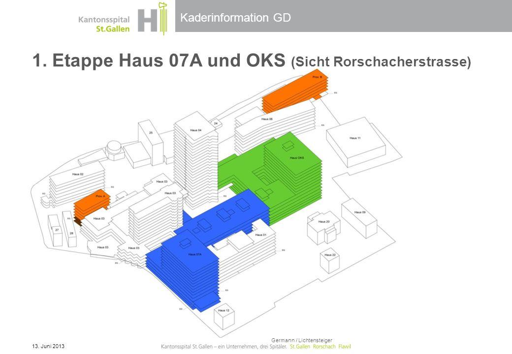 Kaderinformation GD 1. Etappe Haus 07A und OKS (Sicht Rorschacherstrasse) 13. Juni 2013 Germann / Lichtensteiger