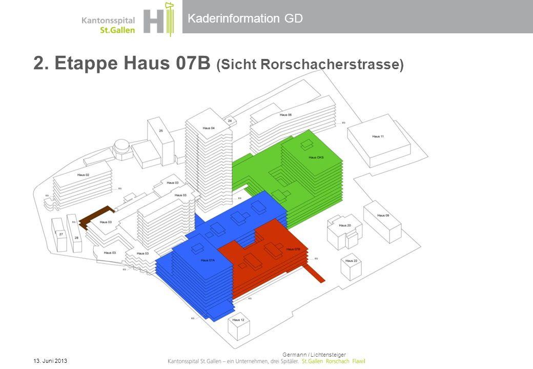 Kaderinformation GD 2. Etappe Haus 07B (Sicht Rorschacherstrasse) 13. Juni 2013 Germann / Lichtensteiger