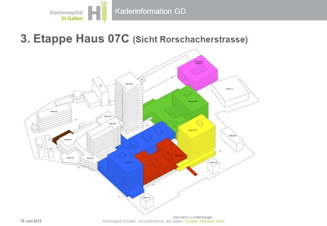Kaderinformation GD 3. Etappe Haus 07C (Sicht Rorschacherstrasse) 13. Juni 2013 Germann / Lichtensteiger