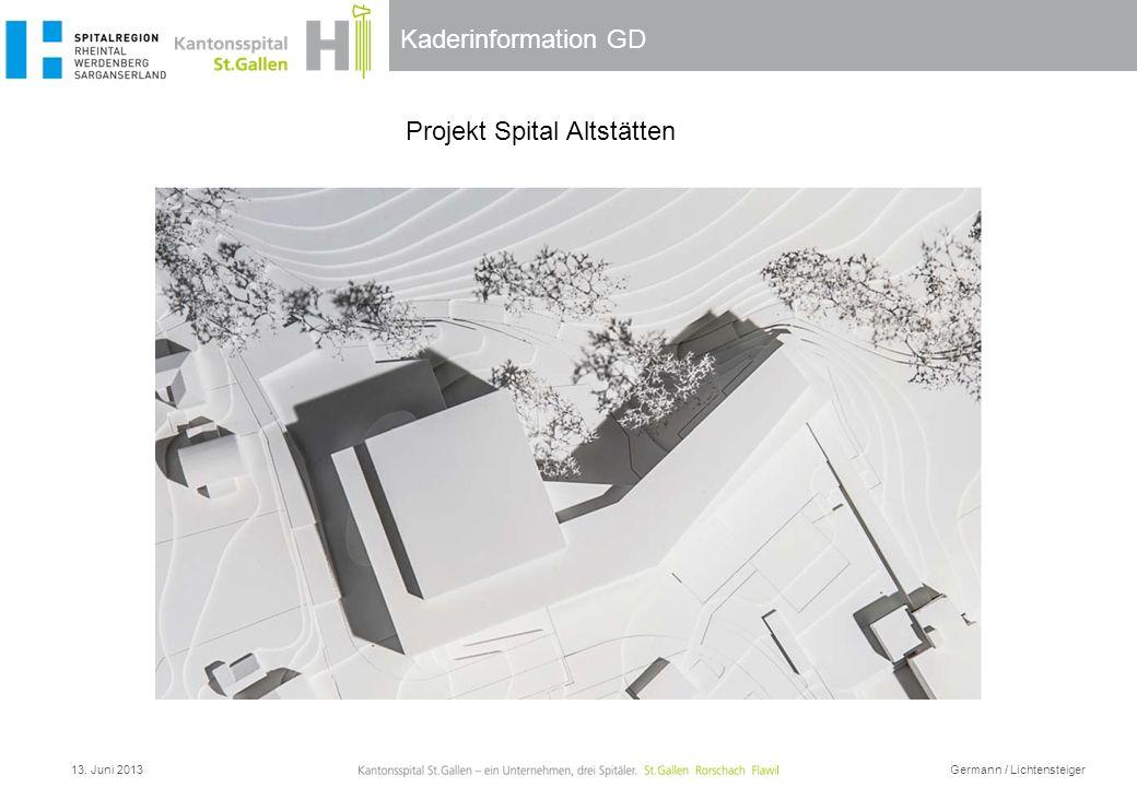 Kaderinformation GD 13. Juni 2013 Germann / Lichtensteiger Projekt Spital Altstätten