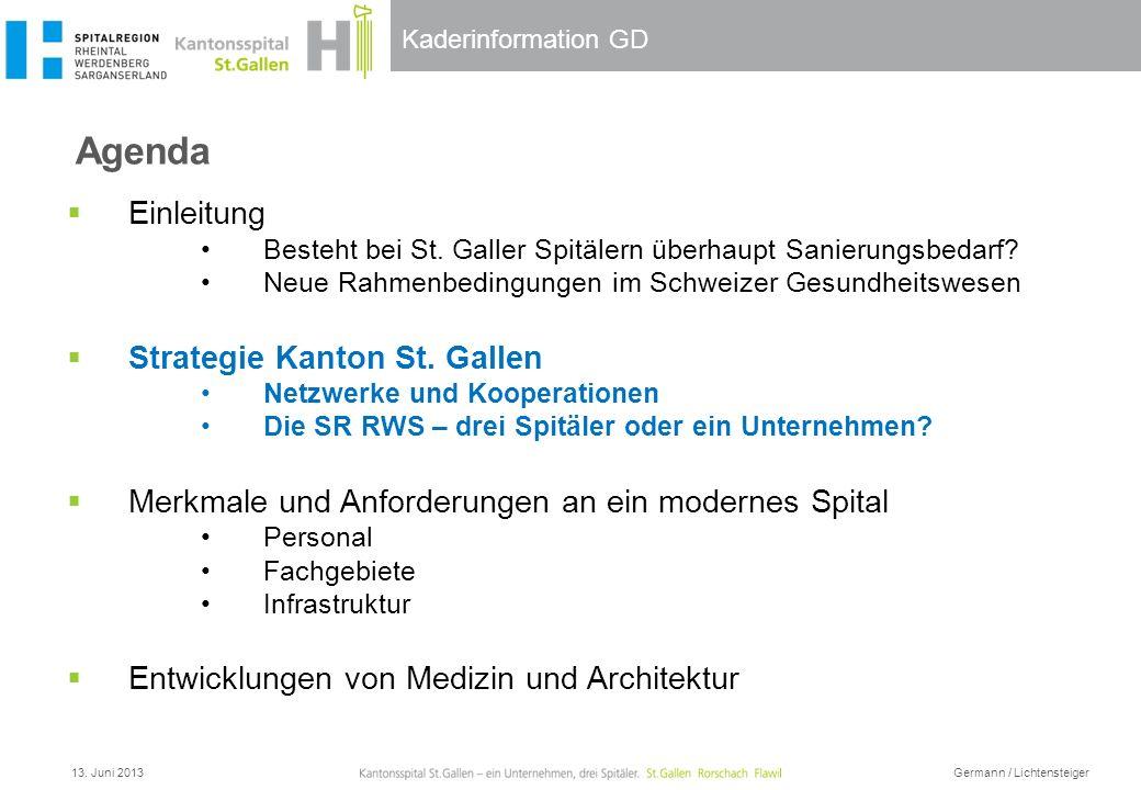 Kaderinformation GD Leistungsauftrag Medizinische Grund- und Zentrumsversorgung Bereitschaftsdienste Aus-, Fort- und Weiterbildung Forschung 13.