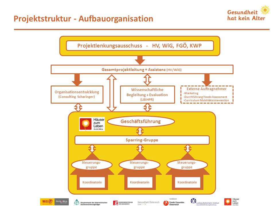 Wissenschaftliche Begleitung + Evaluation (LBIHPR) Projektstruktur - Aufbauorganisation Koordinatorin Steuerungs- gruppe Koordinatorin Steuerungs- gru