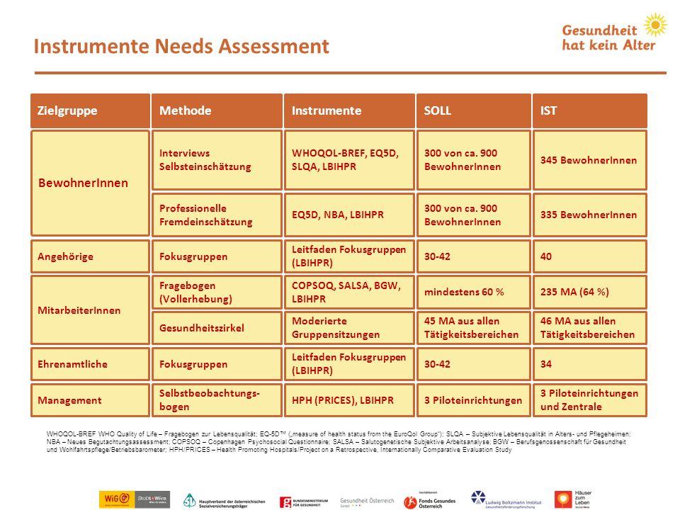 Instrumente Needs Assessment BewohnerInnen Angehörige MitarbeiterInnen Ehrenamtliche Interviews Selbsteinschätzung Professionelle Fremdeinschätzung WH