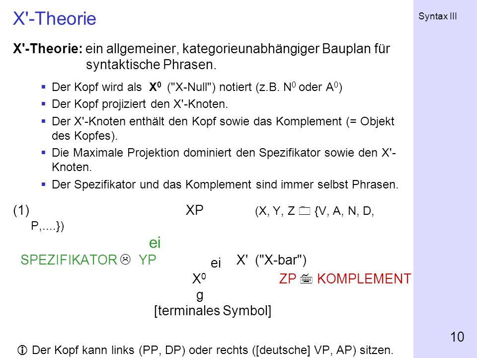 Syntax III 10 X'-Theorie X'-Theorie: ein allgemeiner, kategorieunabhängiger Bauplan für syntaktische Phrasen. Der Kopf wird als X 0 (