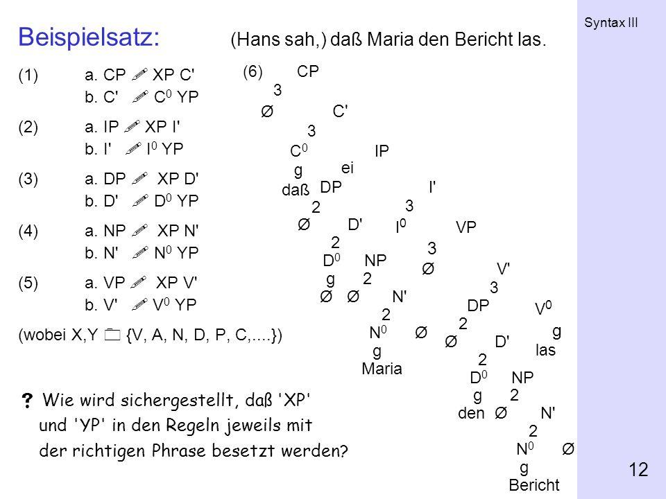 Syntax III 12 Beispielsatz: (Hans sah,) daß Maria den Bericht las. (1)a. CP XP C' b. C' C 0 YP (2)a. IP XP I' b. I' I 0 YP (3)a. DP XP D' b. D' D 0 YP