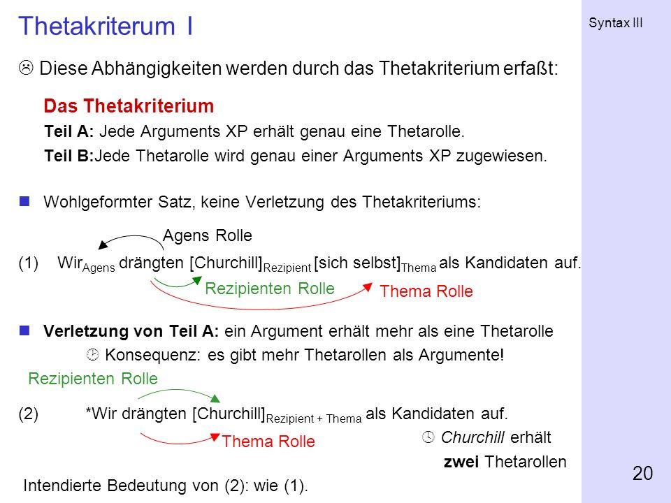 Syntax III 20 Thetakriterum I Diese Abhängigkeiten werden durch das Thetakriterium erfaßt: Das Thetakriterium Teil A: Jede Arguments XP erhält genau e