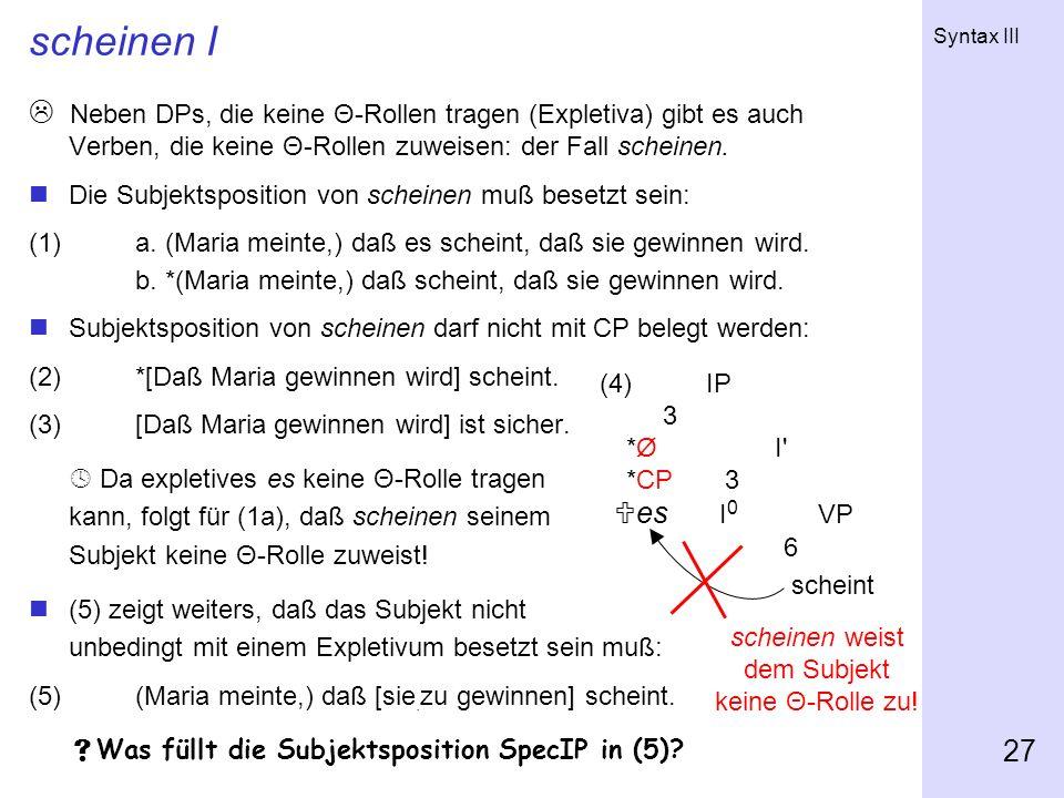 Syntax III 27 scheinen I Neben DPs, die keine Θ-Rollen tragen (Expletiva) gibt es auch Verben, die keine Θ-Rollen zuweisen: der Fall scheinen. Die Sub