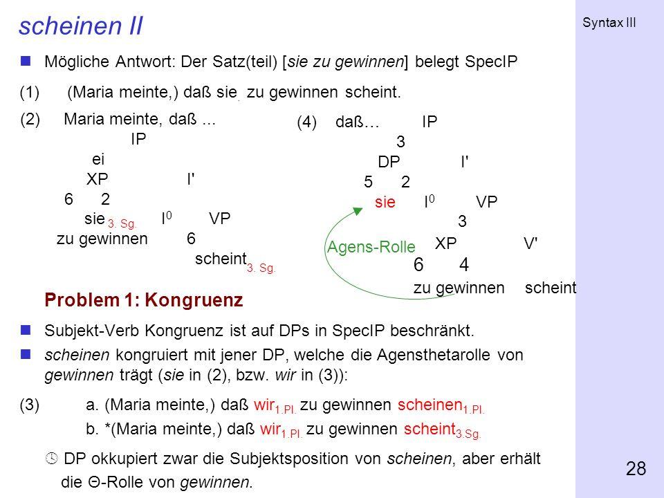 Syntax III 28 scheinen II Mögliche Antwort: Der Satz(teil) [sie zu gewinnen] belegt SpecIP (1) (Maria meinte,) daß sie. zu gewinnen scheint. Problem 1