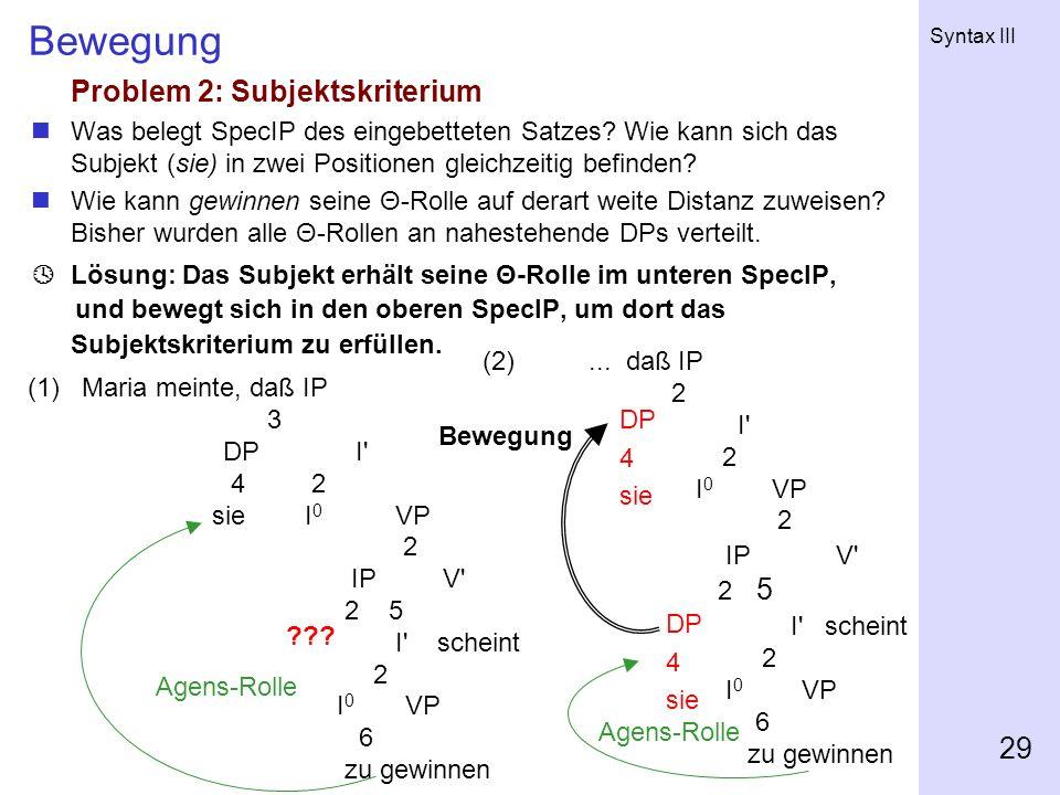 Syntax III 29 Bewegung Problem 2: Subjektskriterium Was belegt SpecIP des eingebetteten Satzes? Wie kann sich das Subjekt (sie) in zwei Positionen gle