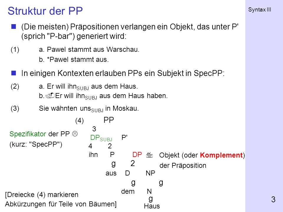 Syntax III 3 Struktur der PP (4) PP 3 DP SUBJ P' 4 2 ihn P DP g 2 aus D NP g g dem N g Haus (Die meisten) Präpositionen verlangen ein Objekt, das unte