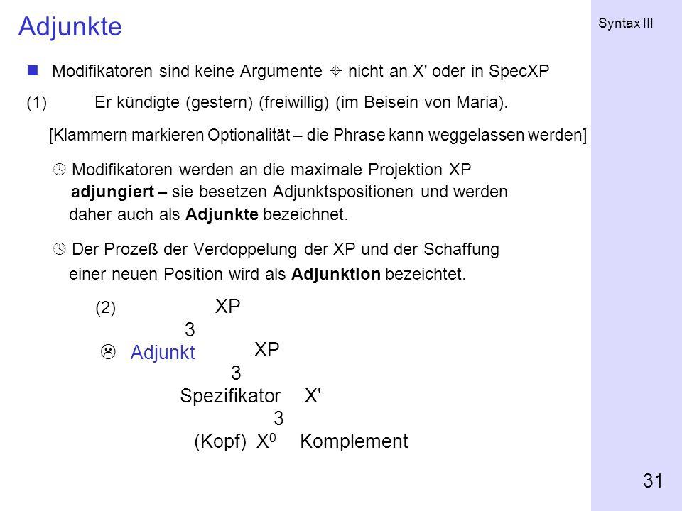 Syntax III 31 Adjunkte Modifikatoren sind keine Argumente nicht an X' oder in SpecXP (1) Er kündigte (gestern) (freiwillig) (im Beisein von Maria). [K
