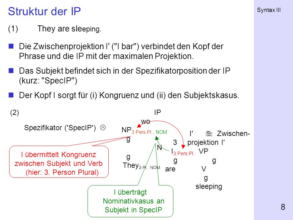 Syntax III 8 Struktur der IP (1) They are sle eping.