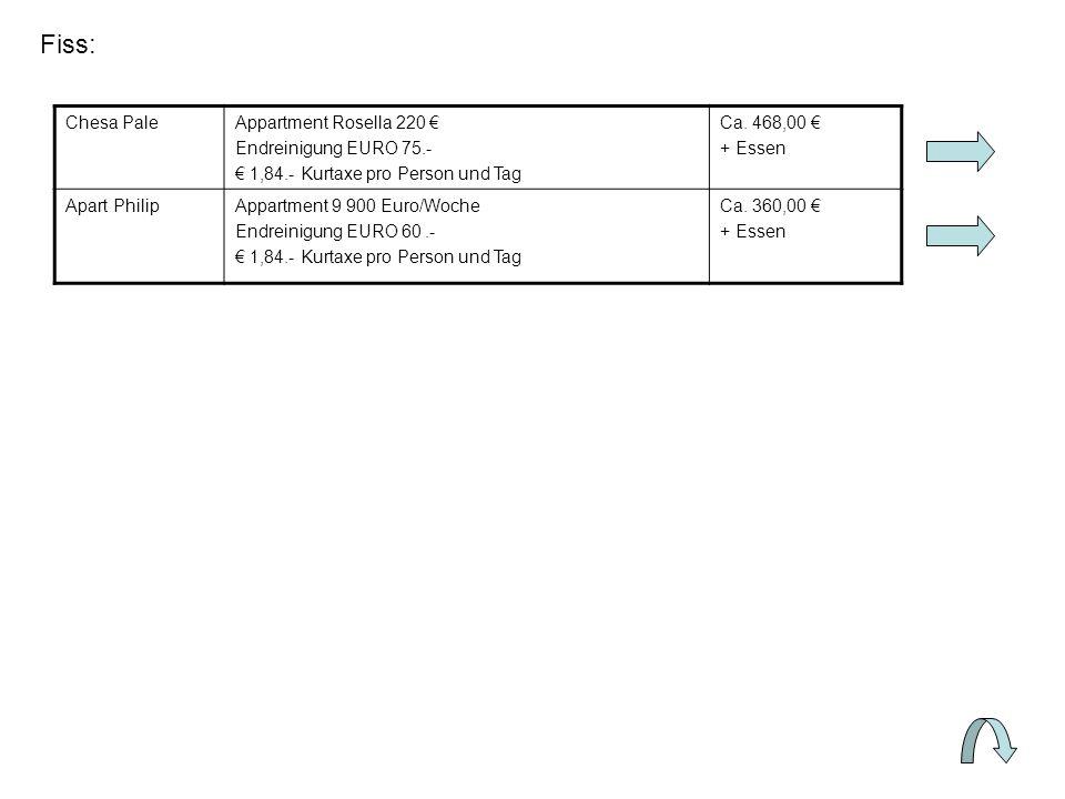 Fiss: Chesa PaleAppartment Rosella 220 Endreinigung EURO 75.- 1,84.- Kurtaxe pro Person und Tag Ca.