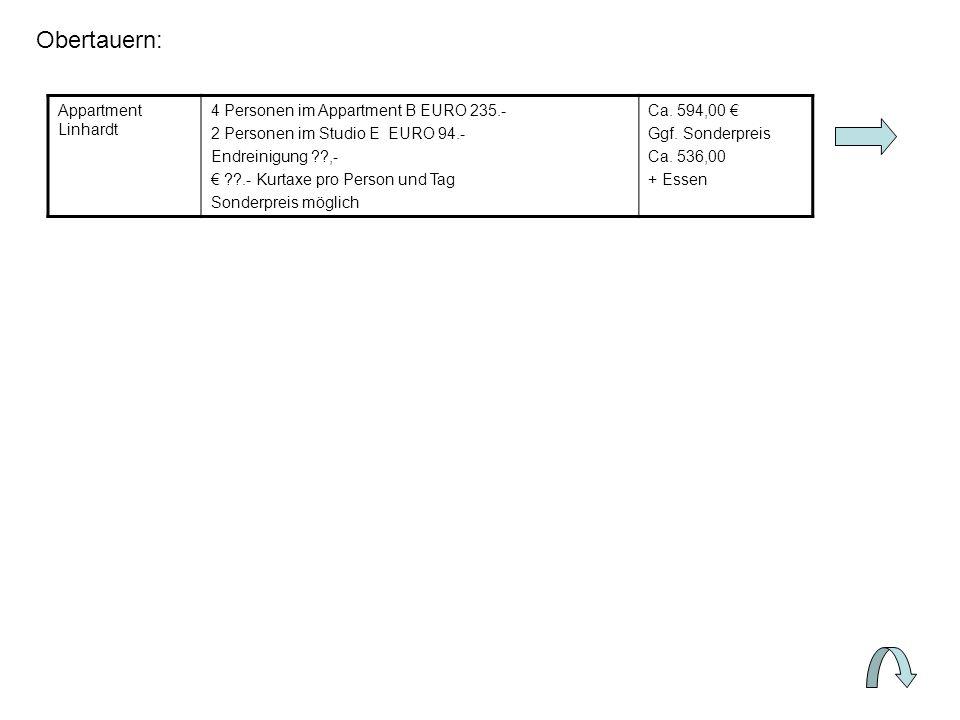 Obertauern: Appartment Linhardt 4 Personen im Appartment B EURO 235.- 2 Personen im Studio E EURO 94.- Endreinigung ,- .- Kurtaxe pro Person und Tag Sonderpreis möglich Ca.