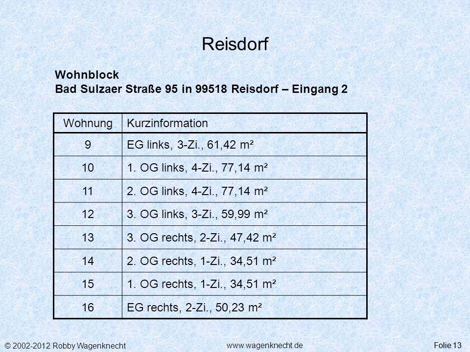 © 2002-2012 Robby Wagenknecht Folie 13www.wagenknecht.de Reisdorf Folie 13 Wohnblock Bad Sulzaer Straße 95 in 99518 Reisdorf – Eingang 2 WohnungKurzin