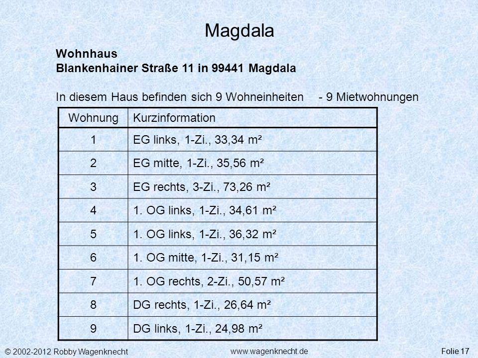 © 2002-2012 Robby Wagenknecht Folie 17www.wagenknecht.de Magdala Folie 17 Wohnhaus Blankenhainer Straße 11 in 99441 Magdala In diesem Haus befinden si
