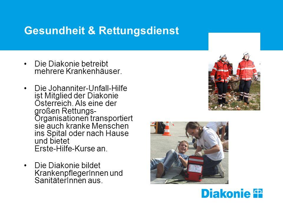 Gesundheit & Rettungsdienst Die Diakonie betreibt mehrere Krankenhäuser.