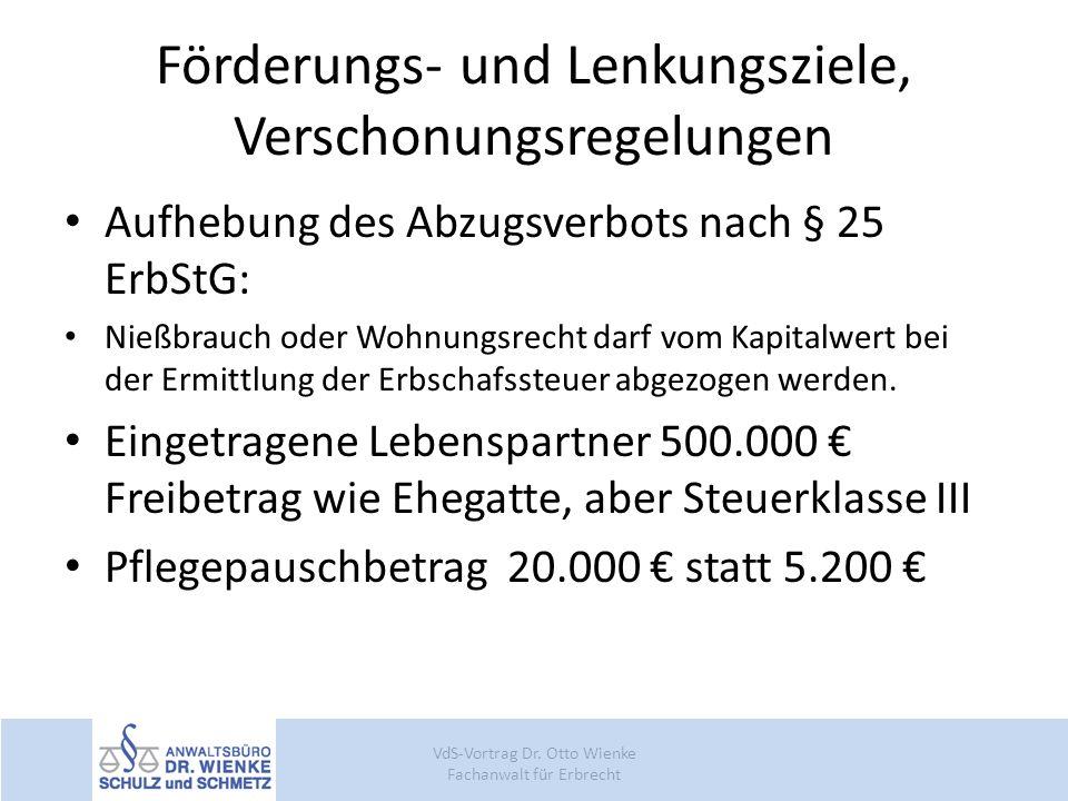 Förderungs- und Lenkungsziele, Verschonungsregelungen Aufhebung des Abzugsverbots nach § 25 ErbStG: Nießbrauch oder Wohnungsrecht darf vom Kapitalwert