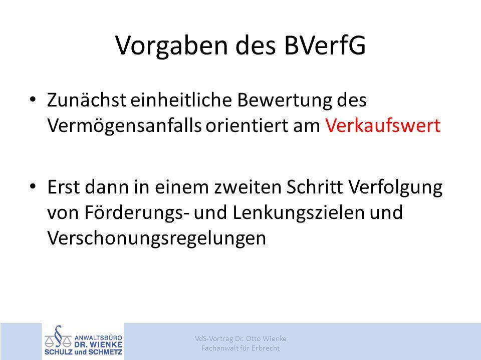 Vorgaben des BVerfG Zunächst einheitliche Bewertung des Vermögensanfalls orientiert am Verkaufswert Erst dann in einem zweiten Schritt Verfolgung von