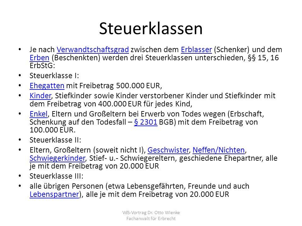 Steuerliche Freibeträge VdS-Vortrag Dr. Otto Wienke Fachanwalt für Erbrecht
