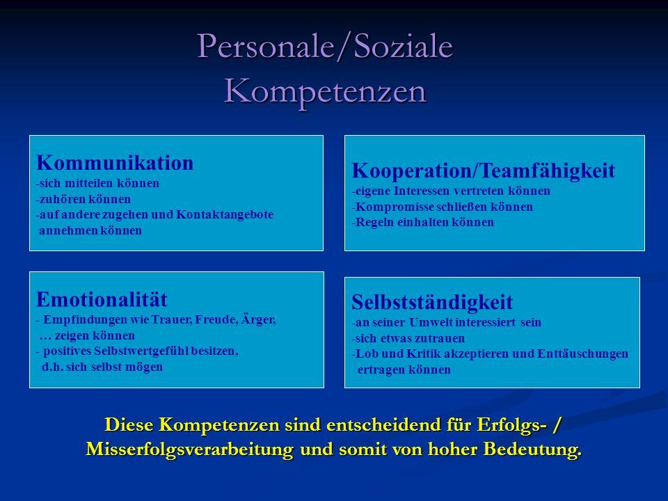 Personale/Soziale Kompetenzen Diese Kompetenzen sind entscheidend für Erfolgs- / Misserfolgsverarbeitung und somit von hoher Bedeutung. Selbstständigk