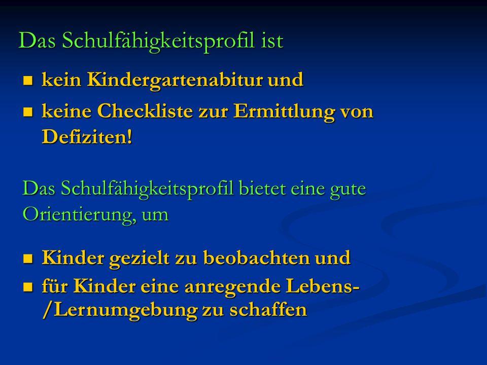 Das Schulfähigkeitsprofil ist kein Kindergartenabitur und kein Kindergartenabitur und keine Checkliste zur Ermittlung von Defiziten! keine Checkliste
