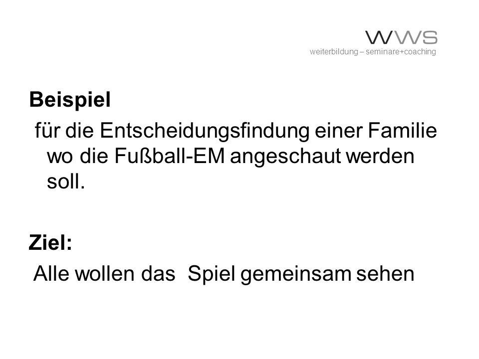 weiterbildung – seminare+coaching Beispiel für die Entscheidungsfindung einer Familie wo die Fußball-EM angeschaut werden soll. Ziel: Alle wollen das